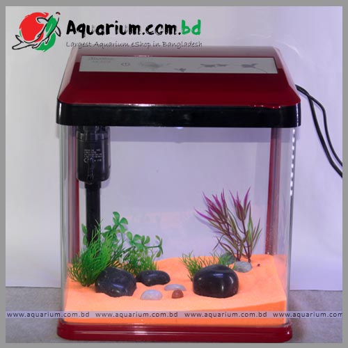 Mini Fish Aquarium 15 Ltrs-full setup(red)