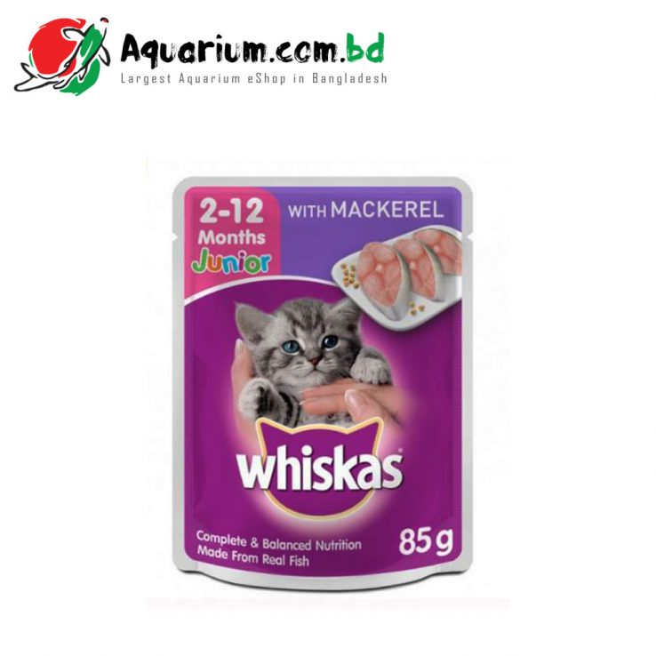 Whiskas Junior/2-12 months with Mackerel 85g Pouch- Cat Wet Food