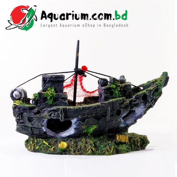 Boat with Fishing Net- Aqua Decor