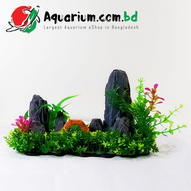 Green Grass with Hill & Bridge- Beautiful Aquarium Decoration