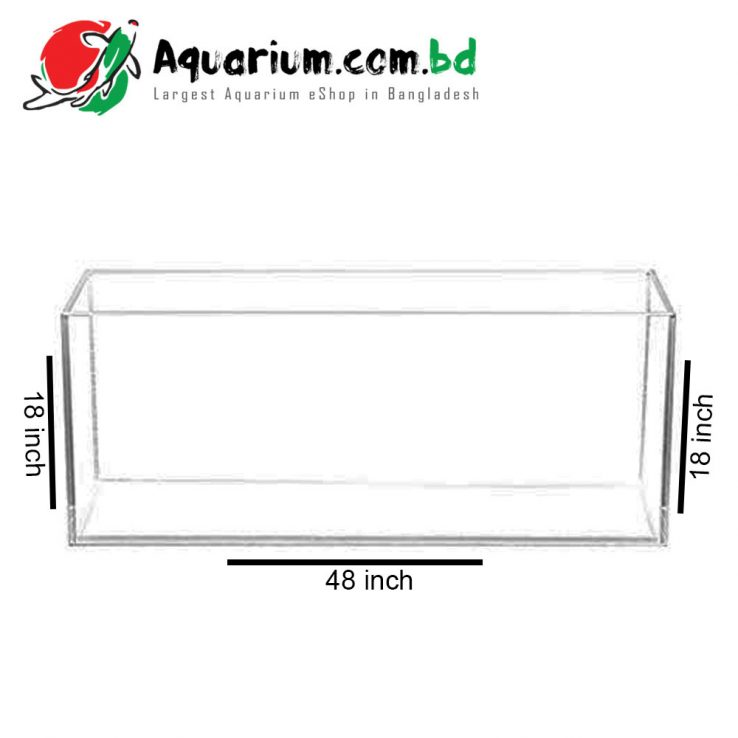 "241 Ltr. 48""x18""x18"" Crystal Glass Aquarium - Glass Thickness 10mm"