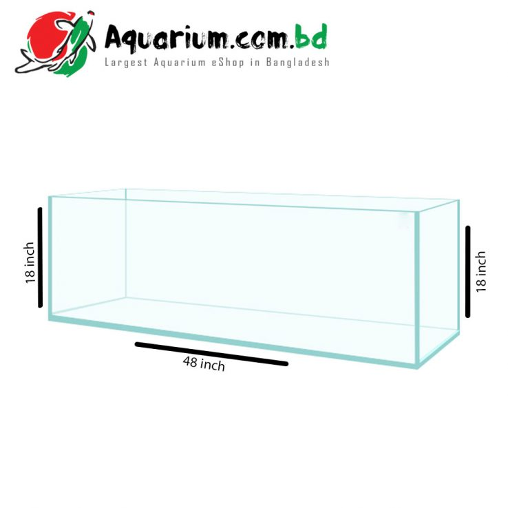 "241 Ltr. 48""x18""x18"" Regular Glass Aquarium- Glass Thickness 10mm"