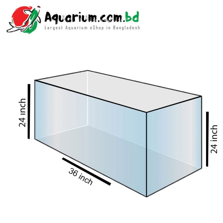 36x24x24 Crystal Glass Aquarium Tank