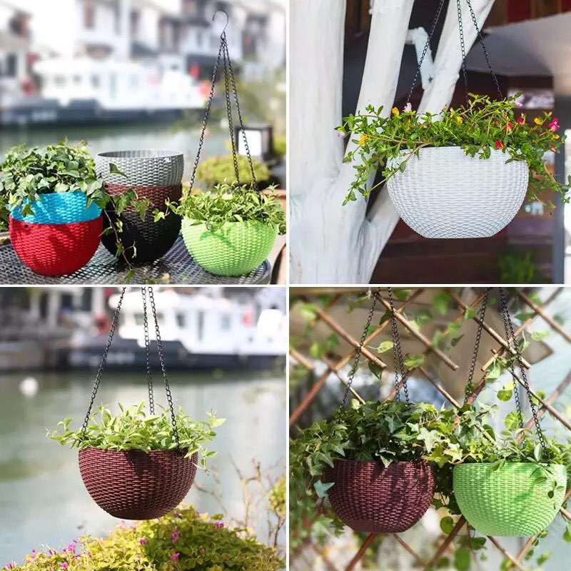 COLORFUL HANGING SELF WATERING POT