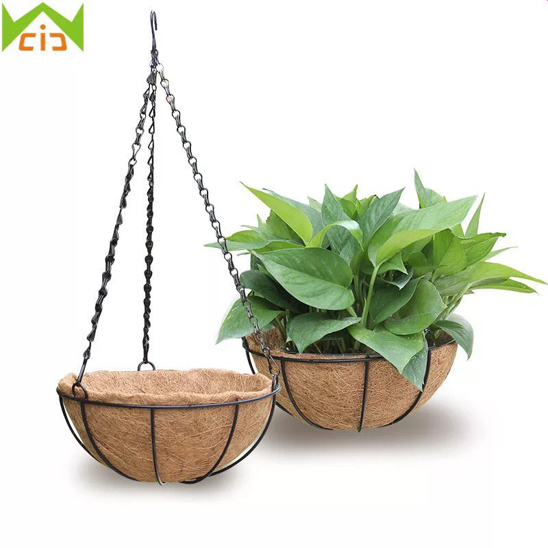 METAL HANGING PLANTER BASKET WITH COCO COIR LINER