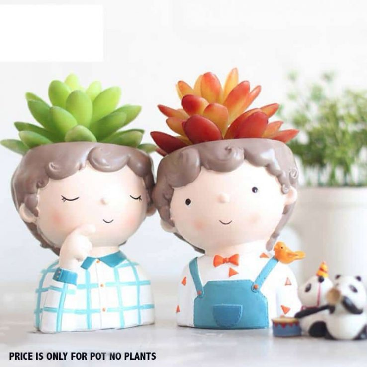 CUTE BOY & GIRL PAIR RESIN POT
