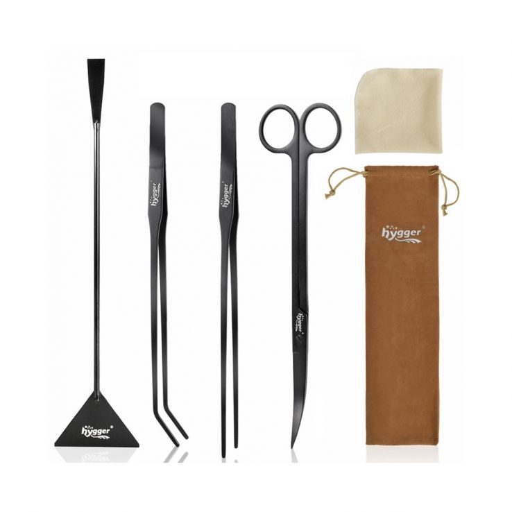 HYGGER Premium 4 PCS Tweezers Scissors Spatula Kits & 1 Cloth Tool Set